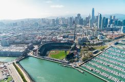 SAN FRANCISCO - AUGUST 2017: Aerial view of San Francisco skyline on a beautiful sunny summer day. The city attracts 20 million t. Ourists annually stock photography