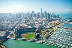 SAN FRANCISCO - AUGUST 7, 2017: Amazing aerial view of San Franc. Isco stadium, port and skyline. The city hosts 20 million tourists stock photos