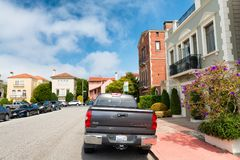 SAN FRANCISCO - AUGUST 5, 2017: Colourful city homes. The city i Stock Photo
