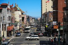 San Francisco - August 2, 2008: Downtown city life in a busy str Royalty Free Stock Photos