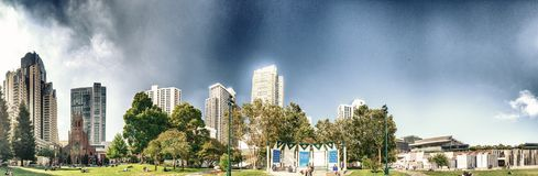 SAN FRANCISCO - AUGUST 5, 2017: Panoramic view of Yerba Buena Ga. Rdens. San Francisco attracts 20 million people annually Royalty Free Stock Photos