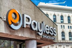 SAN FRANCISCO - AUGUST 6, 2017: Payless Shoes entrance sign. The royalty free stock images