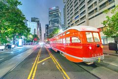 SAN FRANCISCO - AUGUST 7, 2017: Re tram at night. The city attra Stock Photos