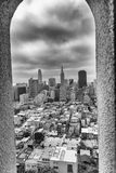 SAN FRANCISCO - AUGUST 2017: San Francisco skyline framed by Coit Tower Architecture.  stock photo