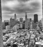 SAN FRANCISCO - AUGUST 2017: San Francisco skyline framed by Coit Tower Architecture.  royalty free stock images