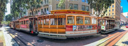 SAN FRANCISCO - AUGUST 5, 2017: Tourists await Cable Car in Powe. Ll Street. The city attracts 25 million people annually Stock Images