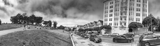 SAN FRANCISCO - AUGUST 5, 2017: Tourists enjoy Painted Ladies vi. Ew. The city attracts 25 million people annually Stock Images