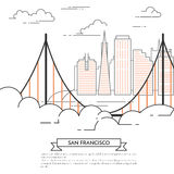 San Francisco banner city landscape Line art Royalty Free Stock Images