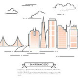 San Francisco banner city landscape Line art Stock Photo