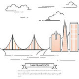 San Francisco banner city landscape Line art Stock Images