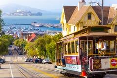 San Francisco Bay Alcatraz Cable Car Hyde St Hill Foto de Stock
