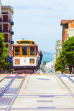 San Francisco Bay Approaching Cable Car Voorv royalty-vrije stock foto