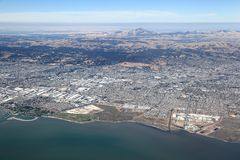 San Francisco Bay Area: Aerial view looking towards the east. Bay area royalty free stock photos