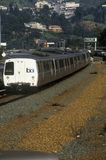 The San Francisco Bay Area Rapid Transit train, commonly referred to as BART, carries commuters to its next destination Royalty Free Stock Photo