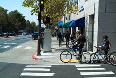 San Francisco Bay Area street scene. Great people great building Stock Photography