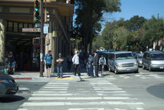 San Francisco Bay Area street scene. Great people great building Royalty Free Stock Photo