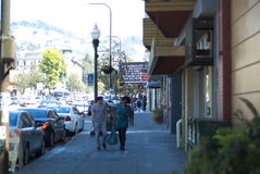 San Francisco Bay Area street scene. Great people great building Royalty Free Stock Photography