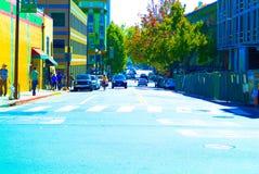 San Francisco Bay Area street scene. Great people great building Stock Photos
