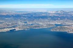 San Francisco Bay Area : Vue aérienne de région est de baie photos libres de droits