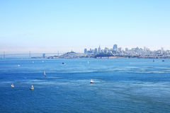 The San Francisco bay,. Baot are sailingi in a sunny day in the San Francisco bay, USA Stock Photos