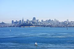 The San Francisco bay,. Baot are sailingi in a sunny day in the San Francisco bay, USA Royalty Free Stock Photography