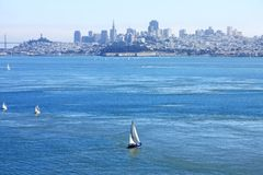 The San Francisco bay,. Baot are sailingi in a sunny day in the San Francisco bay, USA Stock Photography