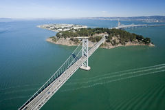 San Francisco Bay bridge aerial view Royalty Free Stock Image