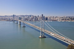 San Francisco Bay bridge aerial view Royalty Free Stock Photos