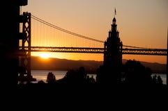 San Francisco Bay Bridge, Clock Tower, Sun Rise stock photo