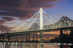 San Francisco Bay Bridge Eastern Span Daybreak Stock Image