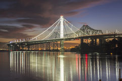 San Francisco Bay Bridge Eastern Span gryning Arkivfoton