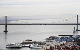 San Francisco Bay bridge and Embarcadero. View of San Francisco Bay bridge and Embarcadero Stock Images