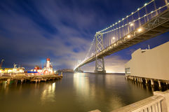 San Francisco Bay Bridge at night Royalty Free Stock Photos