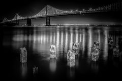 San Francisco Bay Bridge at Night. In Black and White When Fully Lit Royalty Free Stock Images