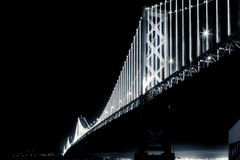 San Francisco Bay Bridge at Night in Black and White. When Fully Lit Royalty Free Stock Photography
