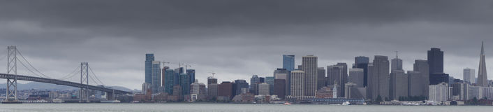 San Francisco Skyline and Bay Bridge Panoramic View. Stock Photo