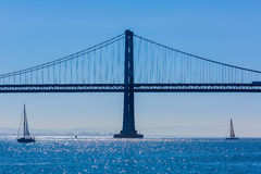 San Francisco Bay bridge sailboat from Pier 7 California Stock Photos