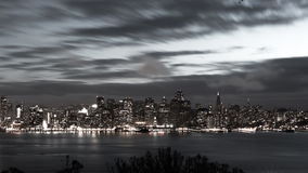 San Francisco Bay Bridge and skyline at night black and white Royalty Free Stock Images