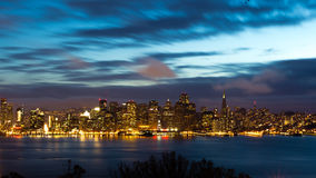 San Francisco Bay Bridge and skyline at night Stock Photos