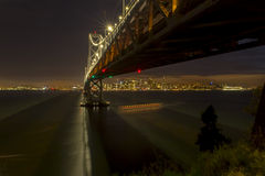 San Francisco Bay Bridge and Skyline at Sunset stock image