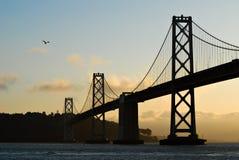 San Francisco Bay bridge at sunrise stock image