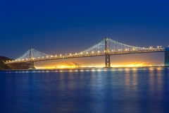 San Francisco Bay Bridge at sunset from Pier 7 California Stock Images