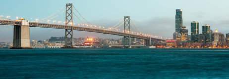 San francisco bay bridge at sunset Royalty Free Stock Images