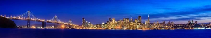 San Francisco and Bay Bridge taken from Treasure Island. Stock Photo