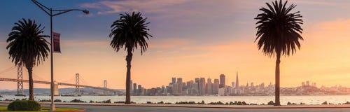 San Francisco and Bay Bridge taken from Treasure Island. Royalty Free Stock Photo
