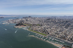 San Francisco Bay and City Afternoon Aerial View Stock Image