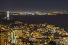 San Francisco bay and Coit Tower Night Stock Photography
