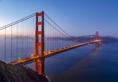 San Francisco Bay Daybreak - Golden gate bridge Royalty-vrije Stock Foto