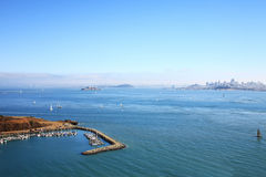 San Francisco Bay. A dock in the San Francisco bay, California, Usa, with Alcatraz islan Stock Photography