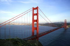 San Francisco Bay and The Golden Gate. The view of the San Francisco bay, San-Francisco city, and the Golden Gate bridge as can be seen from the north side of Royalty Free Stock Photos